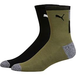 1/2 Terry Men's Low Crew Socks [2 Pack], BLACK / WHITE, small